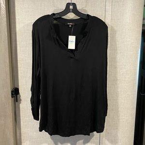 Impulsive V Neck Black Blouse 3/4 Sleeve